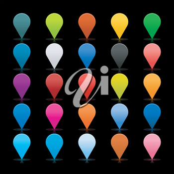 Royalty Free Clipart Image of a Set of Map Pin Icons