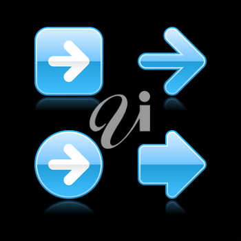 Royalty Free Clipart Image of Four Blue Arrows