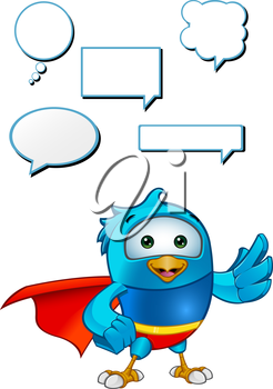 Royalty Free Clipart Image of a Caped Bird With Speech Bubbles