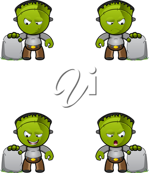 Royalty Free Clipart Image of Monsters at Gravestones