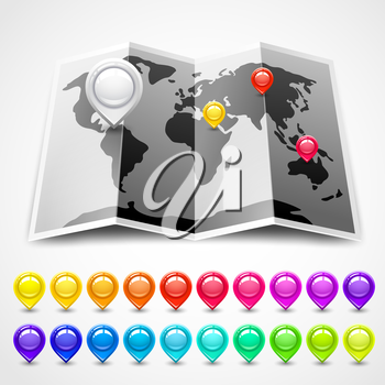 Map with pin pointers location. Vector illustration eps10