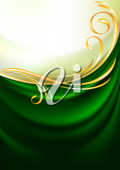 Green fabric curtain, vector background. Gold vignette