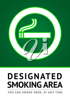 Label smoking place sticker, vector