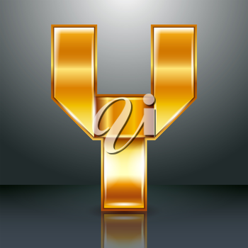 Font folded from a golden metallic ribbon - Letter Y. Vector illustration 10eps.