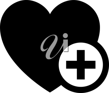 Love symbol. Valentine's Day sign, black emblem isolated on white background, flat style.