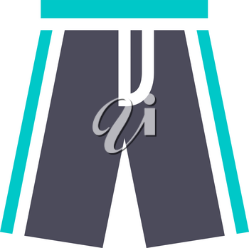 Beach shorts, gray turquoise icon on a white background