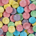 Close up of colorful sugar candy in filled frame layout.