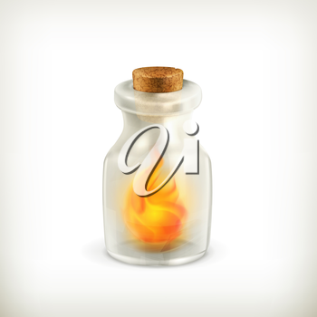 Fire in a bottle, vector icon