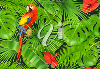 Jungle leaves and parrot, seamless pattern. 3d vector realistic background