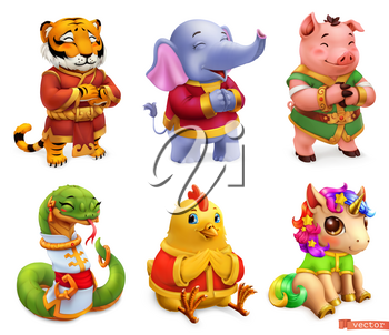 Funny animals. Tiger, elephant, pig, snake, chicken, unicorn. 3d vector icon set
