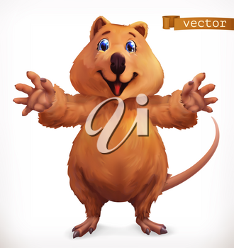 Quokka cartoon character. Funny animal, 3d vector icon