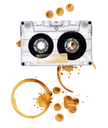 Vintage audio tape with coffee stains. Isolated on white background.