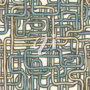 Seamless tangled wires retro background. Vector, EPS10