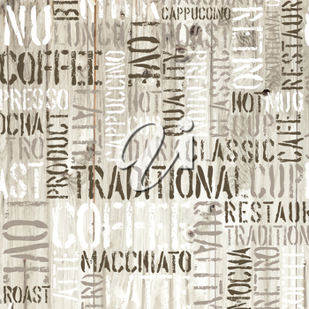 Coffee words on the wooden background. Vector