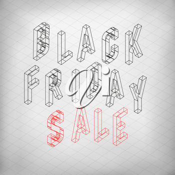Black friday sale. Isometric letters. Vector typoraphy for designs
