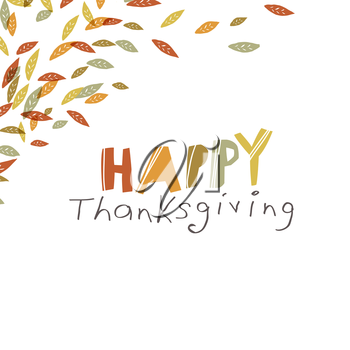Happy Thanksgiving design. Logo and corner element. For holiday greeting cards designs and other projects. Hand drawn quirky vector illustration
