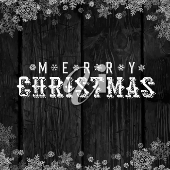 Wooden black christmas background with snowflakes. Holiday Postcard template