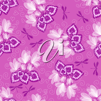 Seamless floral background with cyclamen and dragonfly