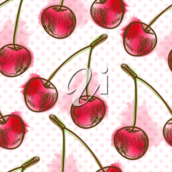 Seamless pattern with cherry. Painted in watercolor style