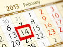 calendar page with red frame on February 14 2013
