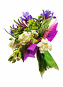 Beautiful bouquet of tulips, iris, veronica and other flowers isolated on white background.