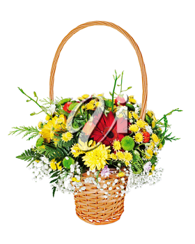 Colorful flower bouquet arrangement centerpiece in wicker gift basket isolated on white background.