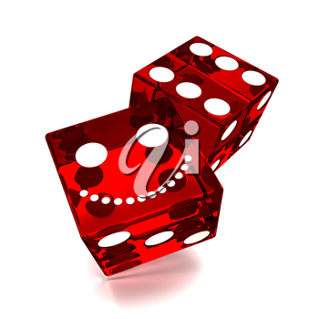 two smiling red dice on white background