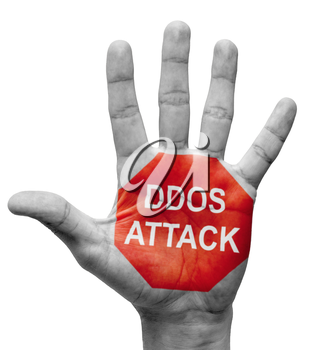 Royalty Free Photo of a Hand With DDOS Attack Painted on It