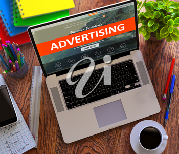 Advertising on Landing Page of Laptop Screen. Business, Marketing Concept. 3d Render.