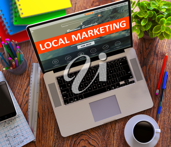 Local Marketing on Landing Page of Laptop Screen. Business, Advertising Concept. 3d Render.