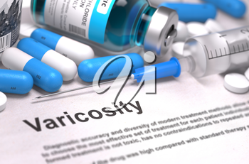 Diagnosis - Varicosity. Medical Concept with Blue Pills, Injections and Syringe. Selective Focus. Blurred Background. 3D Render.
