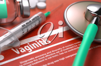 Vaginitis - Printed Diagnosis on Orange Background with Blurred Text and Composition of Pills, Syringe and Stethoscope. Medical Concept. Selective Focus. 3D Render.