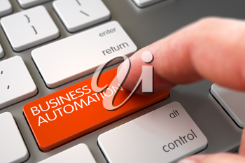 Business Automation Concept. Business Concept - Male Finger Pointing Business Automation Button on Modern Laptop Keyboard. Finger Pushing Business Automation Key on Modern Laptop Keyboard. 3D Render.
