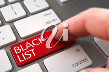 Selective Focus on the Black List Button. Modernized Keyboard with Black List Red Keypad. Hand of Young Man on Black List Red Button. Hand Pushing Black List Red Computer Keyboard Keypad. 3D Render.