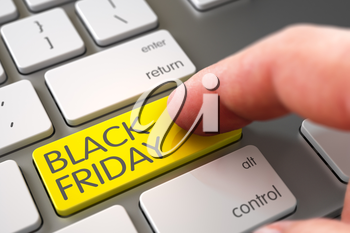 Hand using Computer Keyboard with Black Friday Yellow Keypad, Finger, Laptop. Black Friday - Modernized Keyboard Concept. Black Friday - Modernized Keyboard Key. 3D Render.