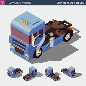 Commercial vehicle used for Transporting Goods or another Specified Purpose. Isometric Vector Illustration. Colorful model in Four Dimensions.