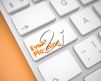 Event Planning Written on the White Keypad of Modern Computer Keyboard. Closeup View on the Slim Aluminum Keyboard - Event Planning White Button. 3D Illustration.