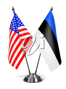 USA and Estonia - Miniature Flags Isolated on White Background.