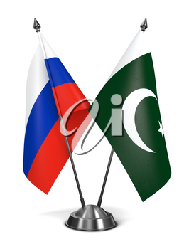 Russia and Pakistan - Miniature Flags Isolated on White Background.