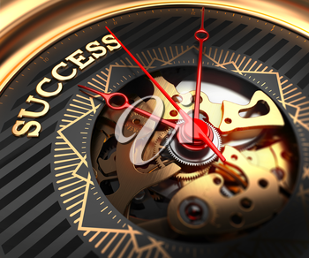 Success on Black-Golden Watch Face with Closeup View of Watch Mechanism.