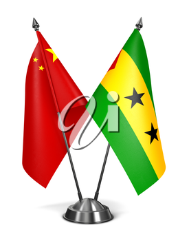 China. Sao Tome and Principe - Miniature Flags Isolated on White Background.