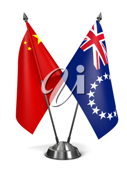China and Cook Islands - Miniature Flags Isolated on White Background.