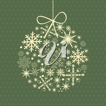 Christmas card with holiday elements: tree, bell,holly berry