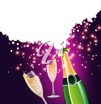 Vector illustration of Champagne bottle and glass