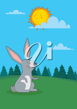 Vector illustration of hare looking at sun in the forest. Spring landscape.