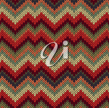 Style Seamless Knitted Pattern. Red Blue Brown Yellow Orange Green Color Illustration