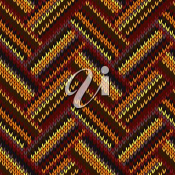 Seamless Knitted Pattern. Yellow Orange Red Brown Grey Color Swatch