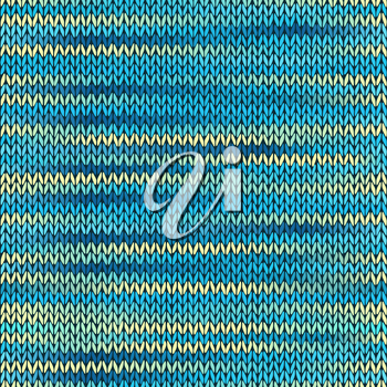 Style Seamless Knitted Melange Pattern. Blue Yellow Color Vector Illustration