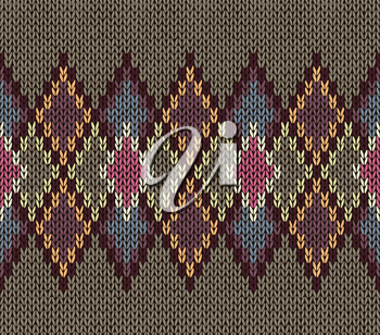 Seamless Pattern. Knit Woolen Trendy Ornament Texture. Fabric Color Tracery Background.
