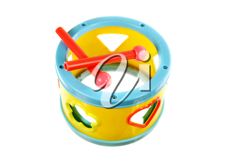 Small toy drum isolated on a white background